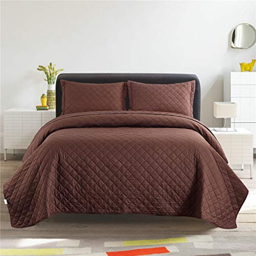 Junsey 3Pcs Bedspreads King Size Plaid Quilts,Lightweight Reversible Coverlet Set Solid Quilts Set,Brown