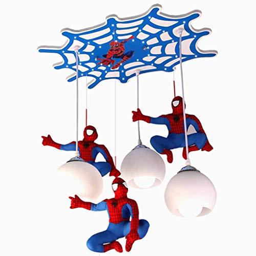 Lámpara colgante LED para habitación de niños Spider-Man Lighting Luz colgante 3 Luces Pantalla de cristal Lámpara…