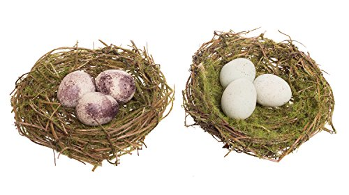 Red Egg Ornaments - Red Co. Mini Twig Bird Nest with Eggs, Decorative Ornament with Clip, Set of 2, 4-inch