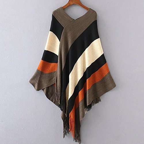 Women Striped Tassel Loose Tops Shawl Cape Wrap Poncho Knitted Scarf Cloak Coat (One Size, 03) by XZmy (Image #1)