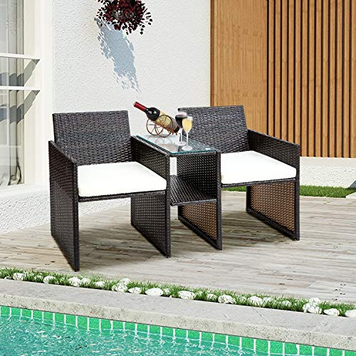 Leisure Zone Wicker Conversation Set Patio Furniture with Cushions for Indoor Outdoor Use Rattan Chair Set for Living Room, Garden, Lawn, Backyard, Balcony