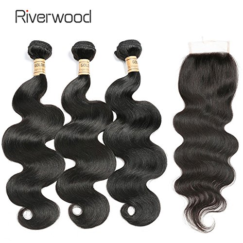 Riverwood Malaysian Body Wave Virgin Hair 3 Bundles with Closure 100% Unprocessed Remy Human Hair Weave Bundles with Lace Closure Free Part 4 Pc/Lot(10 12 14 with 8inch ()