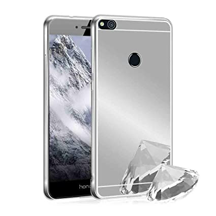 XCYYOO Funda Espejo para Huawei P8 Lite 2017, Protectora Movil Carcasa TPU Silicona Ultra-Fina Bumper Mirror Case, Goma Cubierta Cobertura Delgado ...
