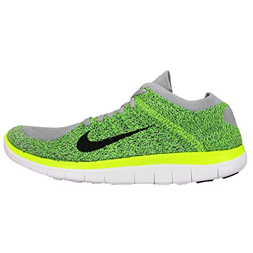 Nike Men's Free 4.0 Flyknit , WOLF GREY/BLACK-VOLT-ELECTRIC GREEN, 14 M US