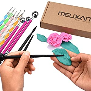 Meuxan 13 Piece Ball Stylus Dotting Tools for Rock Painting, Clay Pottery Modeling Design