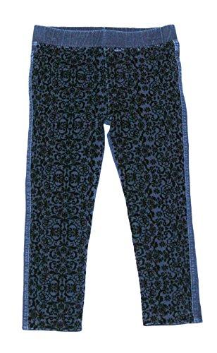 Floral Velvet Jeans (Flapdoodles Toddler/Little Girl Jeggings With Black Velvet Floral Detailing (Denim, 5))
