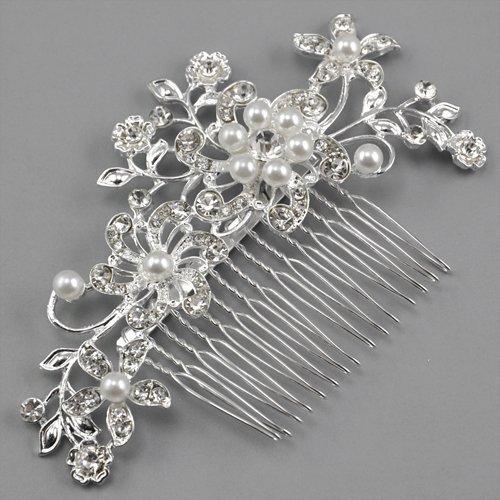 Click Down Bridal Wedding Jewelry Crystal Rhinestone Pearl Flowers Hair Comb Pin Silver