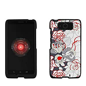 Slim Light Weight 2 piece Snap On Non-Slip Matte Hard Design Rubber Coated Rubberized Case With Premium Protection For Motorola Droid Ultra/Ultra Maxx XT1080/M - Vintage Rose - Black - Retail Packaging