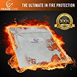 Fire Resistant Document Bag 15'' x 11'' Heavy Duty Fire Resistant Thread - Fireproof Secure Storage For Money / Passports / Legal Documents - Fire Retardant Envelope Heat Protection