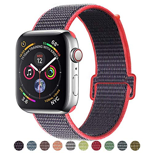 (VATI Band Compatible with Watch Band 38mm 42mm 40mm 44mm Soft Breathable Nylon Sport Band Adjustable Wrist Strap Replacement Band Compatible with 2018 Watch Series 4/3/2/1)