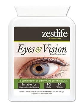 ... Ojos y Visión Suplemento 30 comprimidos | Una combinación de arándano y Eufrasia extrae | Anthocyaninus | La luteína | La zeaxantina | Zinc y Vitaminas: ...