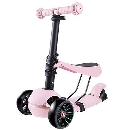 FJHH-Kick Scooters Patinete para niños con Asiento extraíble ...