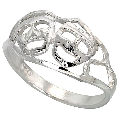 Sterling Silver Drama Masks Ring Polished finish 5/16 inch wide, size 7