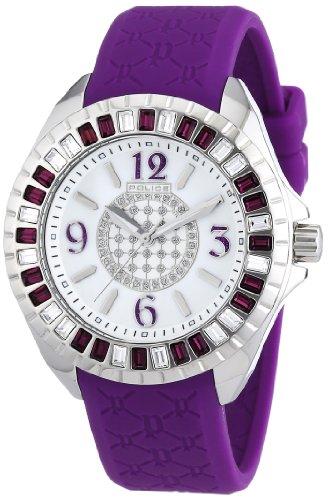 Police Women's ' Jade Quartz Stainless Steel and Rubber Dress Watch, Color:Purple (Model: - Pl Swiss Watch