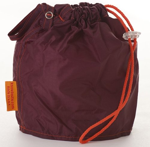 Maroon Large GoKnit Pouch Project Bag w/ Loop & Drawstrings by KnowKnits