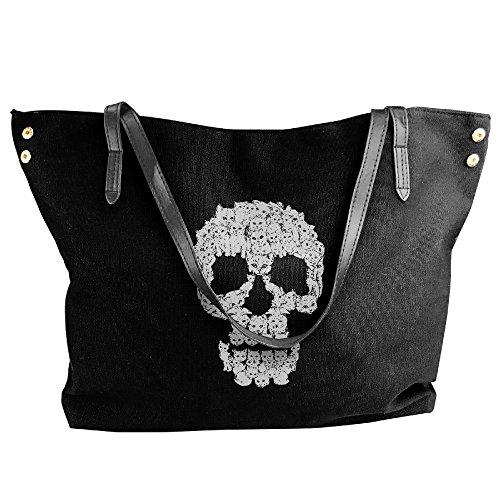 White Cats For Skull Travel Bag For Women Black ()