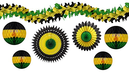 7-piece Complete Jamaican Honeycomb Party Decoration Set (Black/Yellow/Green) -