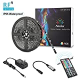LED light Strip, Nexlux 16.4ft Waterproof IP65 5050 SMD RGB LED Flexible Strip Light Black PCB Board Color Changing Decoration Lighting 44 key RF Remote Controller+ UL approved Power Adapter