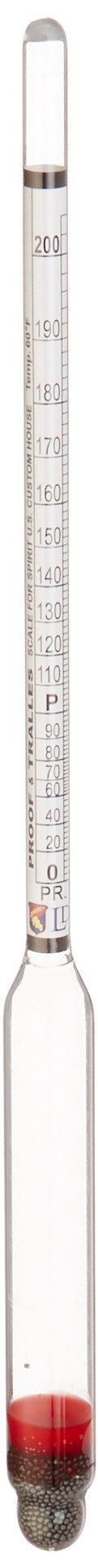 Glass Alcoholmeter/Hydrometer, Proof and Tralles