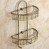 ZZHF yushizhiwujia Full Copper Creative Shelves Retro Bathroom Tripod Basket Bathroom Wall Storage Rack