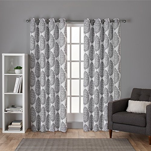 Exclusive Home Curtains Queensland Printed Medallion Sateen Woven Room Darkening Grommet Top Window Curtain Panel Pair, Winter White, 52x108