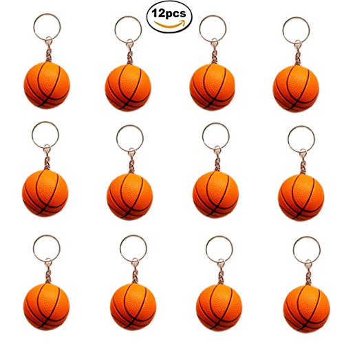 OKOK 12 Pack Orange Basketball Keychains for Kids Party Favors, School Carnival Prizes, Sport Stress Ball