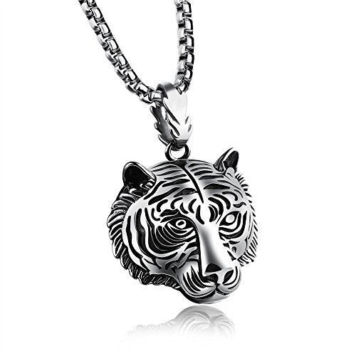 - Marwar 2018 New Fashion Jewelry Animal Tiger Shaped Necklaces Tiger Head Pendant Necklaces Gold Color Plated Gift (White)