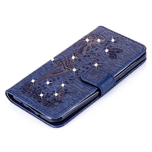 Funda Galaxy J3, Funda de brillo Galaxy J3, Lifetrut Sólido Shiny Sparkle Libro de Estilo de Cuero con Ranura para Tarjetas de Cierre Magnético Soporte Funda de Teléfono de la Función con Correa de Mu E204-Armada