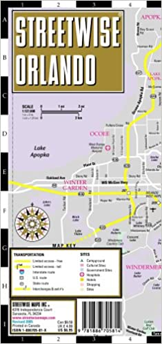 Detailed Map Of Central Florida.Streetwise Orlando Map Laminated City Center Street Map Of Orlando