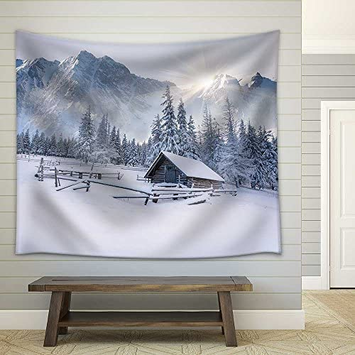 Old Farm in The Mountains Foggy Winter Morning Fabric Wall