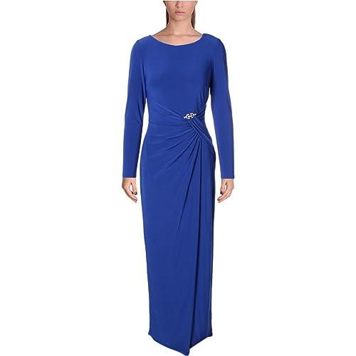 Lauren Ralph Lauren Womens Gathered Embellished Evening Dress Blue 10