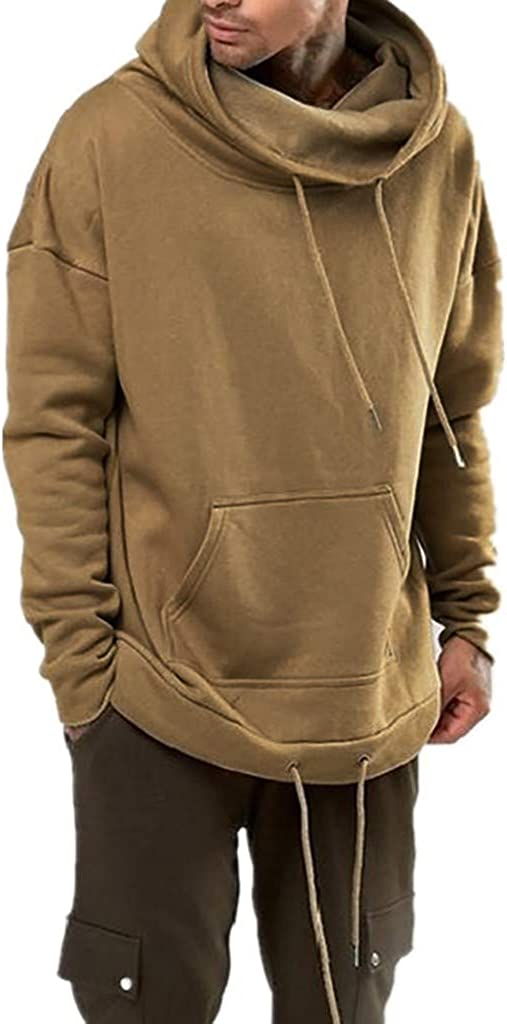Turtleneck Drawstring Long Sleeve Kangaroo Pocket Adjustable Splicing Hem Pullover Sweatshirt Men s Stylish Hoodie