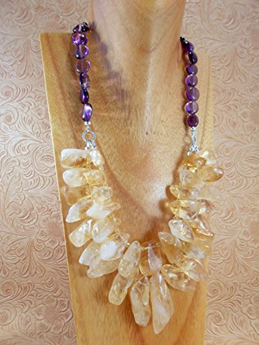 Statement Necklace Set - Chunky Golden Citrine Nuggets with Purple Amethyst Pebbles (Amethyst Pebble)