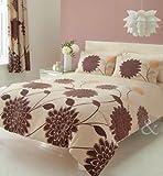Just Contempo Lotus - Set con copripiumino motivo floreale stile moderno copripiumino matrimoniale ( Modern Room ) cioccolato & panna (marrone)