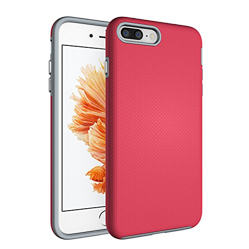 iPhone 7 Plus Case,AOFU [Premium Texture] Dual-Layer [Rugged PC+Soft TPU Bumper] Slim Fit Protective Cases Cover for Apple iPhone 7 Plus--Rose Red