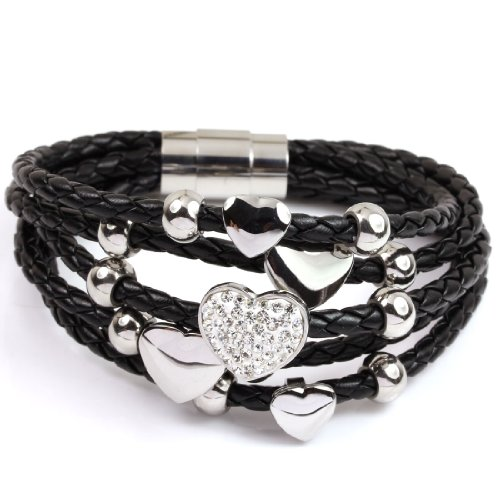 FC White Gold GP Faux Black Braided Leather Crystal Heart Love Rope Bangle Wrap Layers Bracelet Fancy Rope Bracelet
