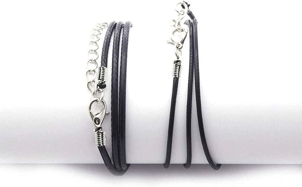 30Pcs Beading Cords Imitation Leather Cord Rope with Lobster Clasp Black Beading Threads for DIY Jewellery Making