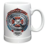 German Beer Stein – Firefighter Gifts for Men or Women –Fire Honor Service Sacrifice Stoneware Beer Stein – Firefighters Beer Glasses with Logo - Set of 4 (20 Ounces)