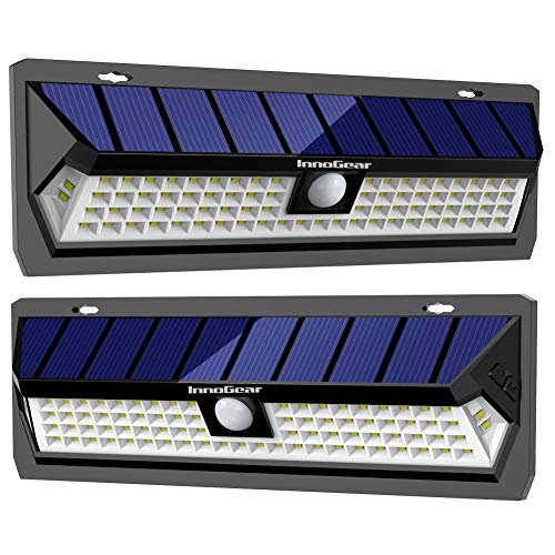 Light Area Security (InnoGear 80 LED Solar Lights Outdoor with Wide Lighting Area Wireless Motion Sensor Security Night Light Wall Sconce Lamp Waterproof for Front Door Back Yard Driveway Garage Patio and Garden(2 Pack))