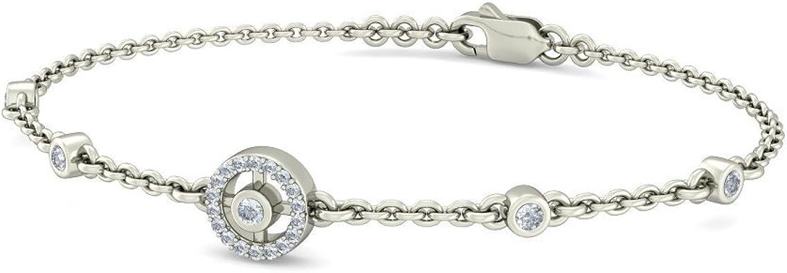 0.25 cttw Round-Cut-Diamond 9.75 inches IJ| SI 18K White Gold identification-bracelets Size