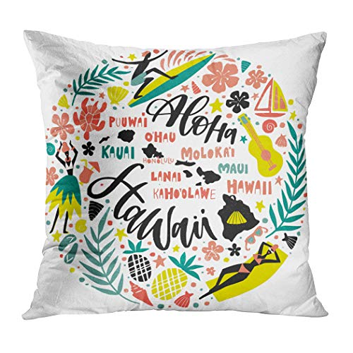 Suklly Throw Pillow Cover Square 16x16 Inch Hawaii Islands Map Tourist Attractions Symbols Cushion Home Sofa Decor Hidden Zipper Polyester -