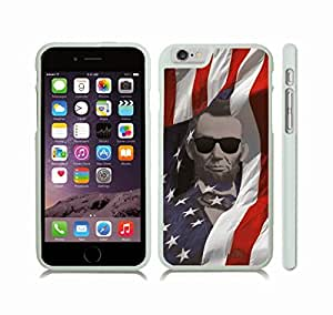 iStar Cases? iPhone 6 Case with Abraham Lincoln with Sunglasses, American Flag Background , Snap-on Cover, Hard Carrying Case (White)