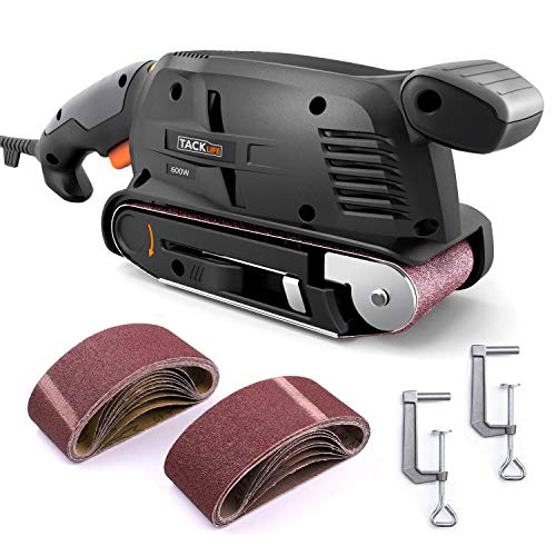 Belt Sander 3 × 18-Inch with 13Pcs Sanding Belts, Tacklife Sanding Platform, with 9.84Ft(3M) Power Cord, Variable-speed Control, Fixed Screw Clamp, Dust Box, Vacuum Adapter - PSFS1A