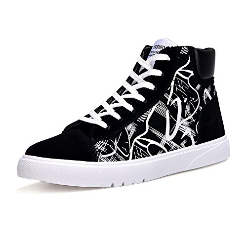 Easy Go Shopping Men's Flat Sport Shoes PU Patent Leather Abstract Painting Upper Lace up High Top Sneaker Cricket Shoes White