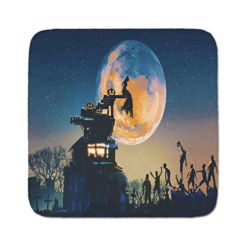 Cozy Seat Protector Pads Cushion Area Rug,Fantasy World,Dead Queen in Castle Zombies in Cemetery Love Affair Bridal Halloween Theme,Blue Yellow,Easy to Use on Any Surface -
