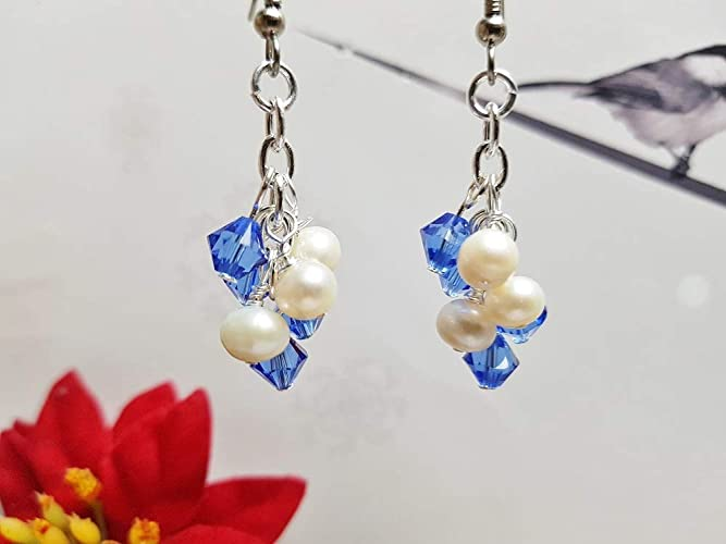 f27dee075 Image Unavailable. Image not available for. Color: Sapphire Earrings ~ Blue  Swarovski Crystal & Genuine White Freshwater Pearl ...
