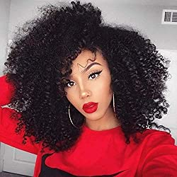 "Full Shine 16"" 7 Pieces 100grams Afro Curl Clip in Human Hair Extension for Black Women Double Weft Remy Hair Extension Natural Balck Color"