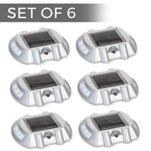 Solar Powered LED Marker Lights- Set of 6- Decorative Aluminum Lamps- Wireless Outdoor Security Light- Garden Decor Accent Lighting- Best for Driveway, Dock, Stairway, Path, Deck, Step, Pool, Patio (Dock Screws)