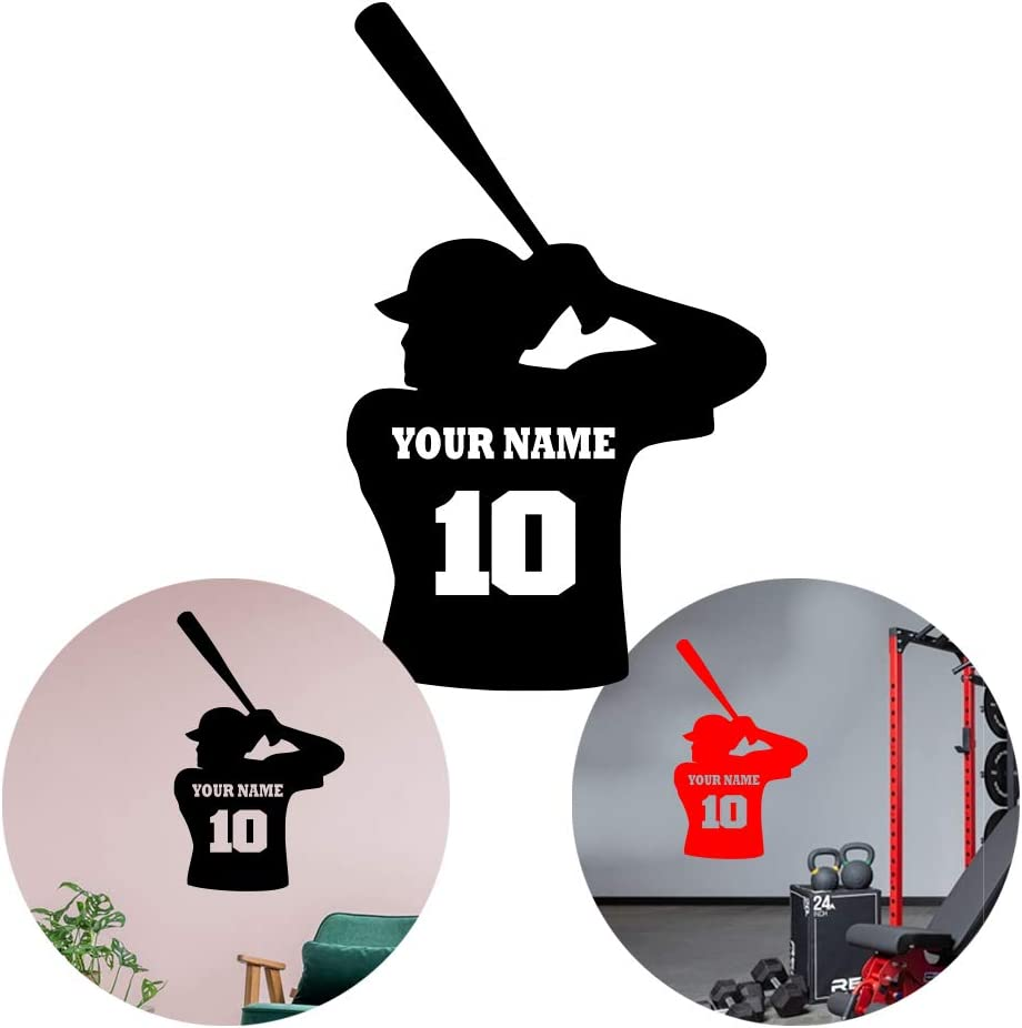 Baseball Wall Stickers for Boys Room Sport Personalize Name, Number Vinyl Sticker Decal - Decor Wall Art Mural Car Windows Home Decoration Bedroom (Choice 4)