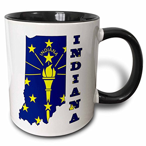 Indiana Mug (3dRose 3dRose Indiana state flag in the outline map and letters for Indiana - Two Tone Black Mug, 11oz (mug_58736_4), , Black/White)